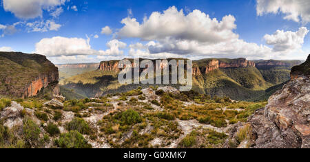 End to end panorama of Grand Canyon rock walls and cliffs as seen from Walls lookout in Blue Mountains national - Stock Photo
