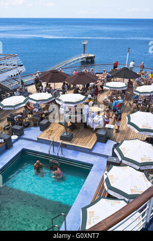 dh  CRUISING TRAVEL CMV Marco Polo cruise ship deck passengers swimming pool buffet - Stock Photo