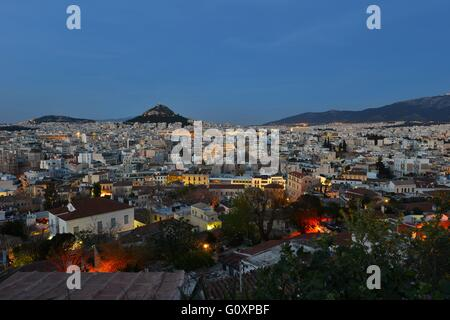 Panoramic view of Athens and in the background Lycabettus - Stock Photo
