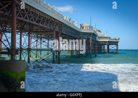 Cromer Pier expands out to sea on the Norfolk Coast, England - Stock Photo