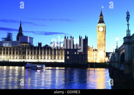 Big Ben, Westminster Bridge, River Thames and Houses of Parliament in London UK - Stock Photo