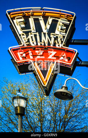 Neon Sign above Five Points Pizza is in the heart of the trendy East Nashville, TN neighborhood on Woodland Street - Stock Photo