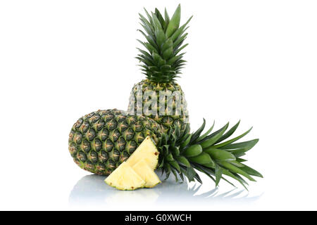 Pineapple pineapples fruit fruits slice isolated on a white background - Stock Photo