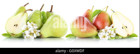 Set of pears pear slice fresh fruit fruits isolated on a white background - Stock Photo