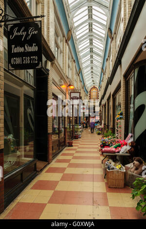 Central Arcade off Hope Street Wrexham leading to the indoor butchers market constructed in 1891 - Stock Photo