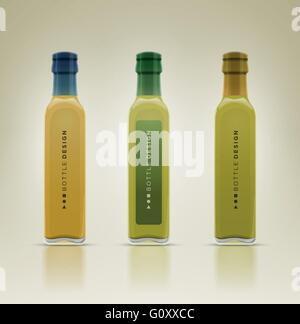 Glass oil olive bottle set. Detailed vector illustration. All elements are layered separately in vector file. Easy - Stock Photo