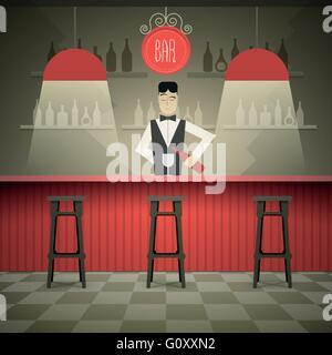 Barman in the bar vector illustration. - Stock Photo