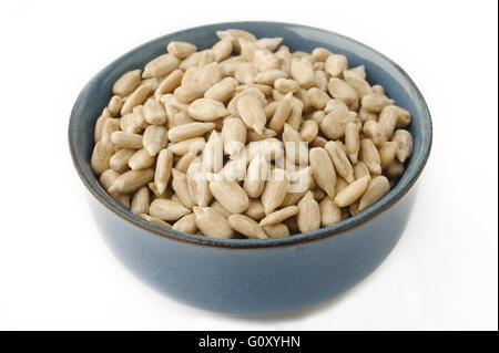 Sunflower seeds peeled in bowl - Stock Photo