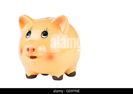 Porcelain piggy bank isolated on white background - Stock Photo