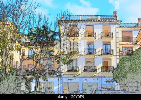 A Digital Color Sketch Of The Beautiful Architecture And Landscape Italy