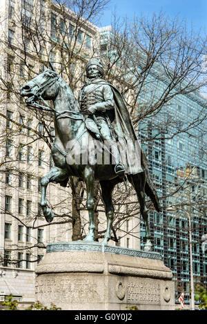 Brigadier General Count Casimir Pulaski statue, Freedom Plaza, Pennsylvania Avenue, Washington DC - Stock Photo