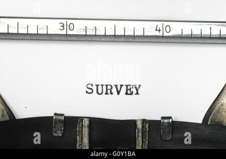 word survey  typed on an old typewriter - Stock Photo