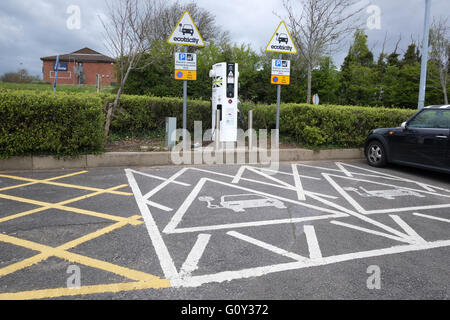 Electrical charging parking bays for cars at Aust Motorway services on the M4 at the first Severn Bridge, 3rd May - Stock Photo