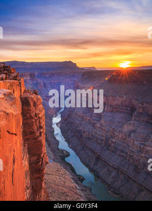 sunrise over the colorado river at toroweap overlook in grand canyon national park, arizona