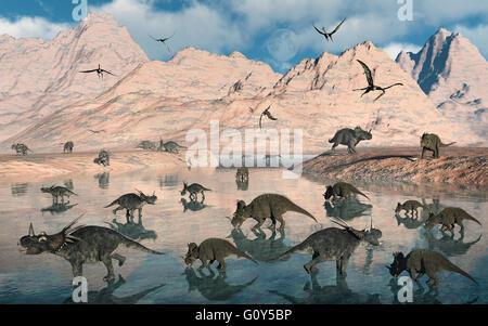 A Mixed Herd Of Centrosaurs & Styracosaurus Dinosaurs. - Stock Photo