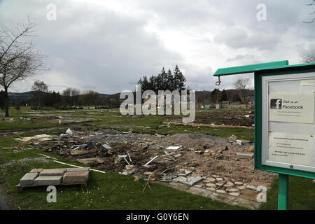 Ballater, Royal Deeside, in April 2016, nearly 4 months after the devastating flood on 30.12.15. - Stock Photo