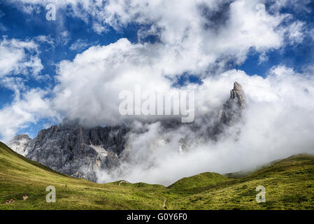 panoramic views of the Pale di San Martino from Passo Rolle, Dolomiti - Italy - Stock Photo