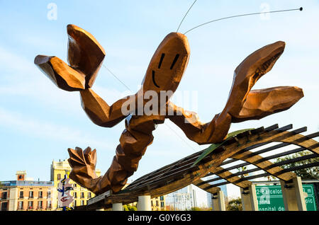 'Gambrinus' statue of giant prawn or lobster on Passeig Colom Barcelona Catalonia Spain - Stock Photo