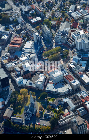 First Church (bottom) and St. Pauls Cathedral and Municipal Chambers, The Octagon, Dunedin, South Island, New Zealand - Stock Photo