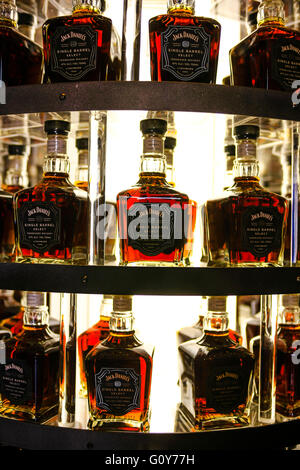 Display of fine Single Barrel Select Jack Daniels whiskey bottles on display at the distillery in Lynchburg, Tennessee - Stock Photo