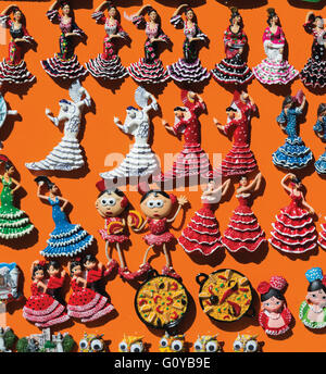 Spain.  Flamenco dancer souvenir fridge magnets. - Stock Photo