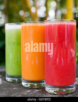 Glasses of cucumber, carrot and watermelon fruit juice outside the Top Deck Restaurant, Ananda in the Himalayas,India - Stock Photo