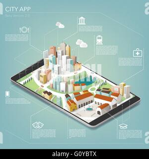 3D city on a mobile app with text and icons, mobile and augmented reality concept - Stock Photo