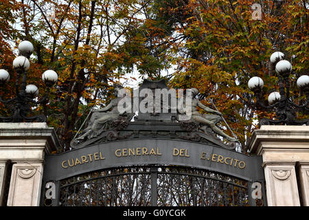 Detail of entrance gate of Cuartel General del Ejercito / Palacio de Buenavista, Madrid, Spain - Stock Photo