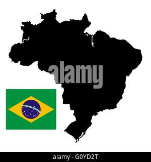 Brazil map with official national flag - Stock Photo
