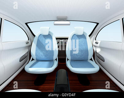 autonomous car interior concept front seats equipped with monitors stock photo royalty free. Black Bedroom Furniture Sets. Home Design Ideas