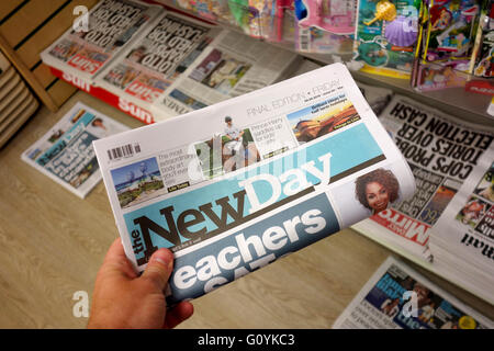 Final Edition of 'The New Day' newspaper - Stock Photo