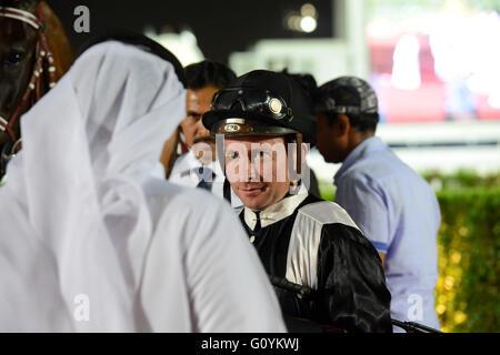 Qatar Racing & Equestrian Club, Doha.  Qatar 5th May 2016.  Tadgh O'Shea after winning race 7, the Club Breeders - Stock Photo