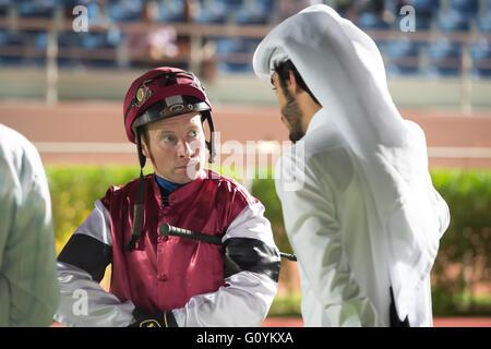 Qatar Racing & Equestrian Club, Doha.  Qatar 5th May 2016.  Jockey Tadgh O'Shea before race 5, the Al Areesh Cup - Stock Photo