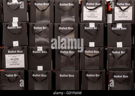 London, UK.  6 May 2016. Ballot boxes await processing. Votes for the London Mayoral elections and London Assembly - Stock Photo