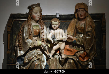 The wooden sculpture 'Virgin and Child with Saint Anne' (1st quarter of the 16th century) from the Teplice Regional - Stock Photo