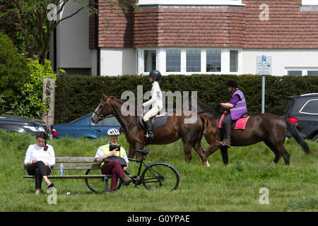 Wimbledon, London, UK. 6th May, 2016. Horse riders on Wimbledon on a sunny day Credit:  amer ghazzal/Alamy Live - Stock Photo