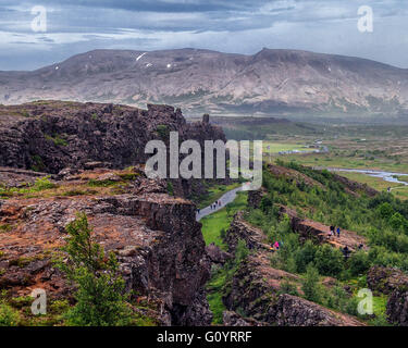 Southwest Iceland, Iceland. 4th Aug, 2015. Famous Almannagja canyon in Thingvellir National Park (a UNESCO World - Stock Photo