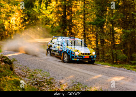 Karlskrona, Sweden. 6th May, 2016. 41st South Swedish Rally is on in the wild forest roads outside Karlskrona. Here - Stock Photo