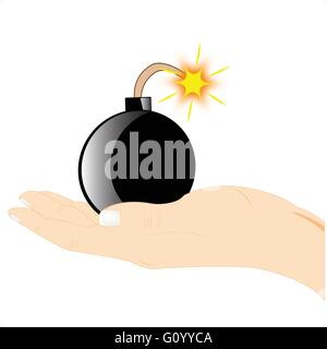 Bomb with burning heaves in hand of the person - Stock Photo