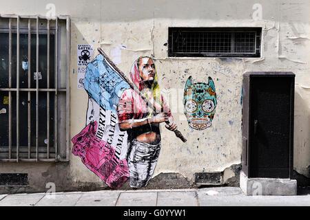 Street art poster on a wall, République, Paris, France - Stock Photo