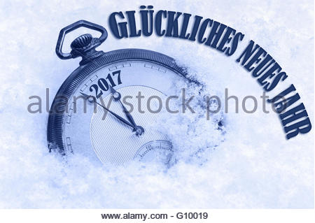 Happy New Year 2017 greeting in German language, Gluckliches neues Jahr text - Stock Photo