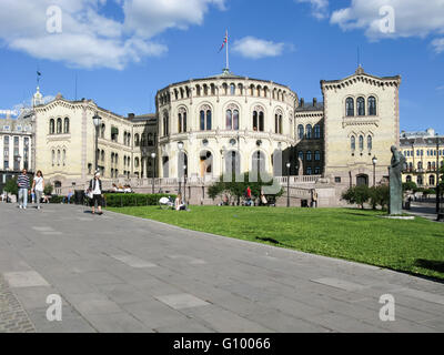 The building of the Parliament or Storting of Norway on Eidsvolls Square, Oslo - Stock Photo