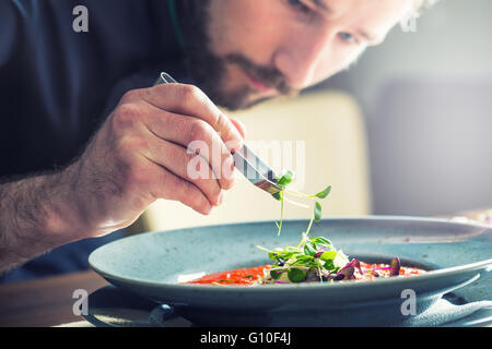 Chef in hotel or restaurant kitchen cooking, only hands. He is working on the micro herb decoration. - Stock Photo
