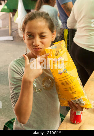 Young spanish girl child age aged 12 years, Marbella,  Andalusia, Spain Europe - Stock Photo
