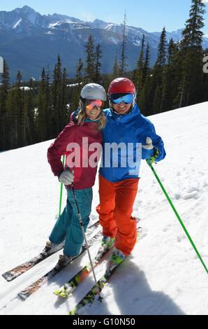 Skiing the Canadian Rockies, Alberta - Stock Photo