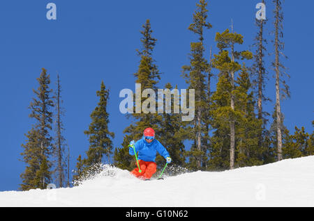 Spring skiing Canadian Rockies - Stock Photo