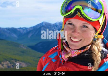 Spring skiing Canadian Rockies - Stock Photo