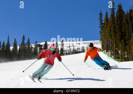 Skiing Canadian Rockies, Alberta - Stock Photo