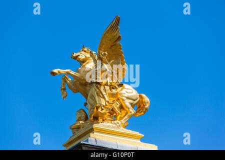 Close up view of Sculpture on the pillar on the bridge of Pont Alexandre III, Paris, France - Stock Photo