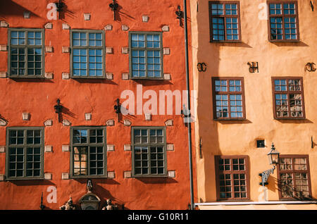 Houses on Stortorget square in Gamla stan, Stockholm, Sweden - Stock Photo